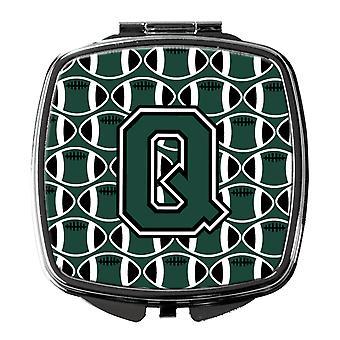 Buchstabe Q Fußball grün und weiß Taschenspiegel