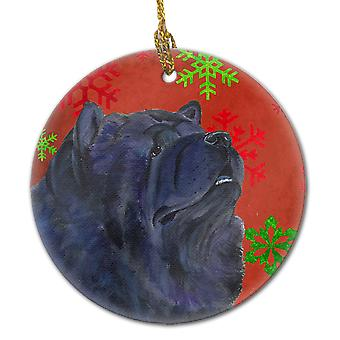 Chow Chow Red Snowflakes Holiday Christmas Ceramic Ornament SS4708