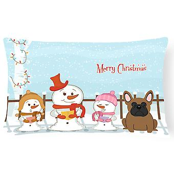 Merry Christmas Carolers French Bulldog Brown Canvas Fabric Decorative Pillow