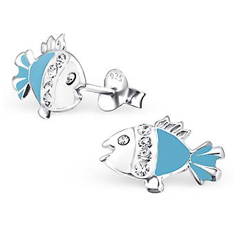 Fish - 925 Sterling Silver Crystal Ear Studs