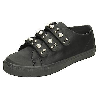 Ladies Spot On Pearl Strap Trainers - Black Satin - UK Size 3 - EU Size 36 - US Size 5