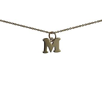 9ct Gold 13x11mm plain Initial M Pendant with a cable Chain 16 inches Only Suitable for Children