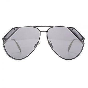Alexander McQueen Edge Cut Out Pilot Sunglasses In Ruthenium Flash Mirror