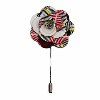 White Tartan Handmade Flower Lapel Pin, Buttonhole, Corsage, Boutonniere