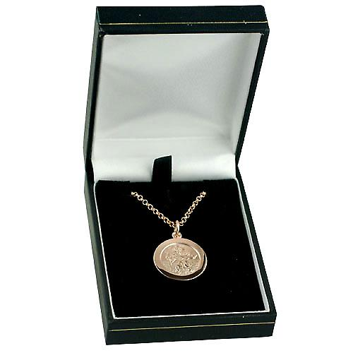 9ct Rose Gold 21mmm round St Christopher Pendant with belcher Chain 16 inches Only Suitable for Children