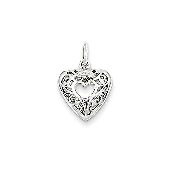 925 Sterling Silver Hollow Heart Charm Pendant - 15mm