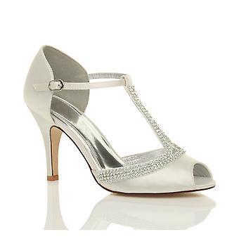 Ajvani womens hoge hak peep toe diamante t-bar bruiloft bridal avond prom sandalen schoenen