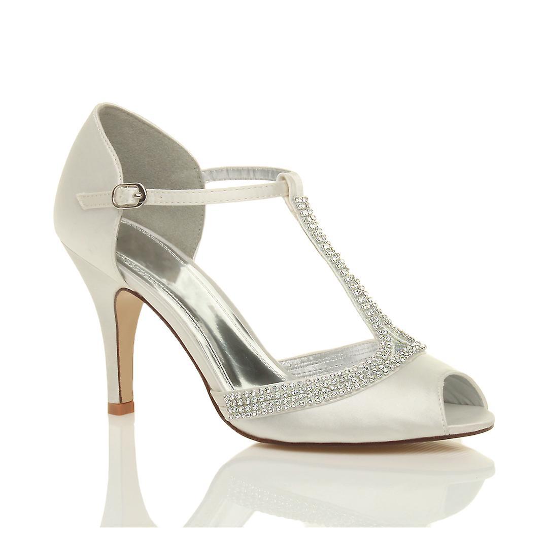Ajvani Damen high-Heel Peep Toe Diamante Schlepplift Hochzeit Braut Abend Prom Sandalen Schuhe
