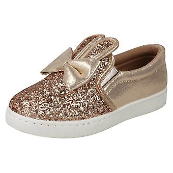 Girls Spot On Flat Bunny Ear Pumps H2480 - Rose Gold Glitter - UK Size 11 - EU Size 29 - US Size 12