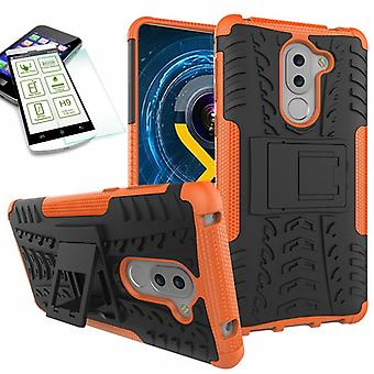 Hybrid case 2 piece SWL Orange for Huawei honor 6 X + tempered glass bag case cover