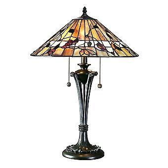 Interiors 1900 Bernwood Rustic Leaves Style Tiffany Table Lamp