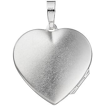 Locket heart 925 sterling silver frosted followers to open