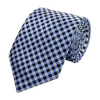 Kaulan tie kravatti sitoo niteen laaja 8cm musta/valkoinen/vaalea sininen kirjava Fabio Farini