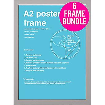 GB Posters 6 A2 prata MDF Poster Frames 42 x 59,4 cm Bundle
