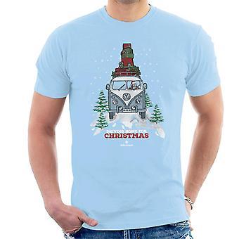 Official Volkswagen Christmas Camper White Text Men's T-Shirt