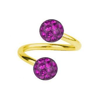 Spirale Twist Piercing Gold vergoldet Titan 1,2, Multi Kristall Kugel lila | 6-12 mm