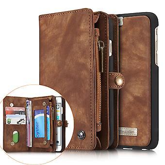 CASEME iPhone 6 s 6 Retro-Split Leder Brieftasche Fall-Kaffee