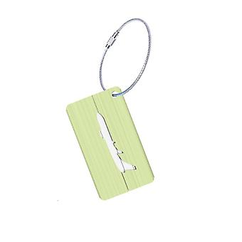 Luggage tag in Aluminium with airplane motifs-Green