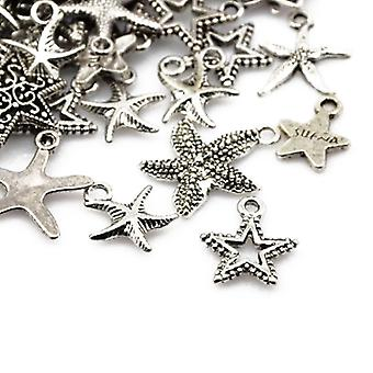 Packet 30 Grams Antique Silver Tibetan 5-40mm Star Charm/Pendant Mix HA07415