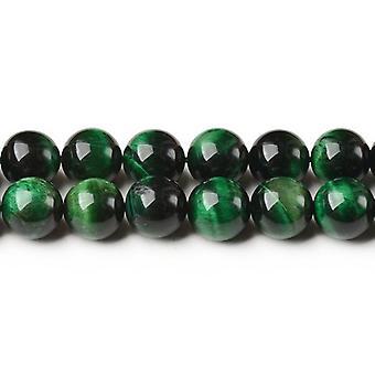 Strand 40+ Green/Black Tiger Eye (Dyed) 8mm Plain Round Beads CB44133-2