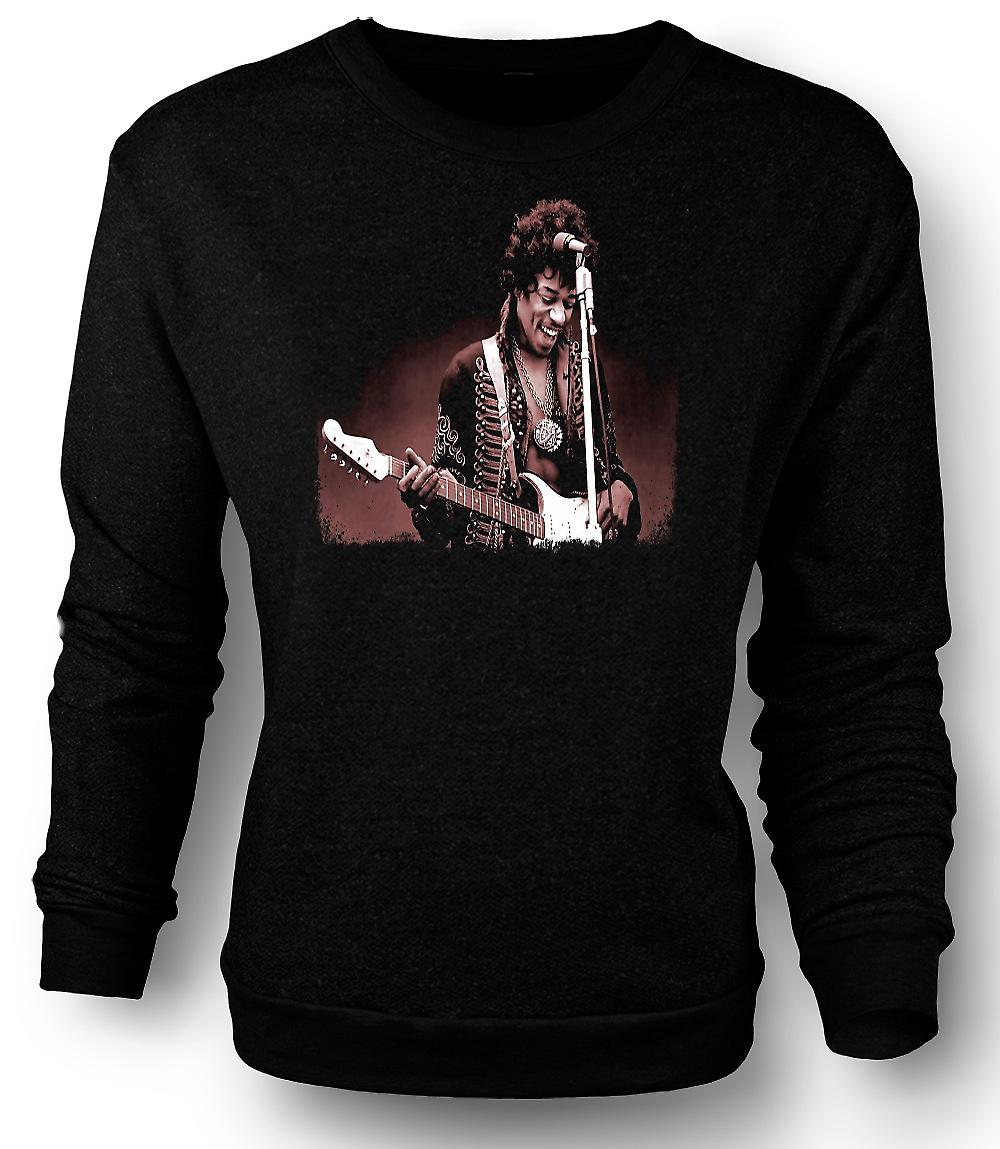 Mens Sweatshirt Jimi Hendrix - Sepia - porträtt