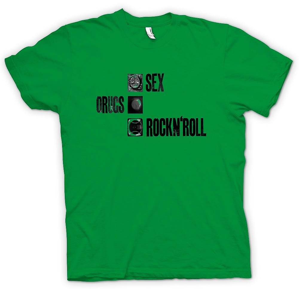 Mens T-shirt - Sex Drugs Rock n Roll - Condom