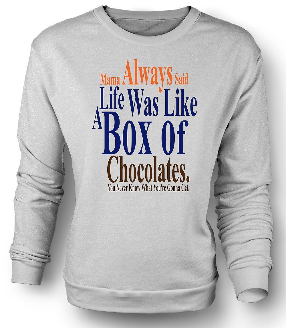 Mens Sweatshirt Forrest Gump doos chocolade - Funny
