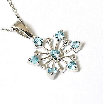 Toc 9ct White Gold Small Light Blue Cz Snowflake Pendant