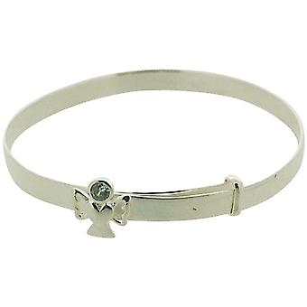 Jo For Girls Sterling Silver June Grey Simulated Birthstone Angel Bangle