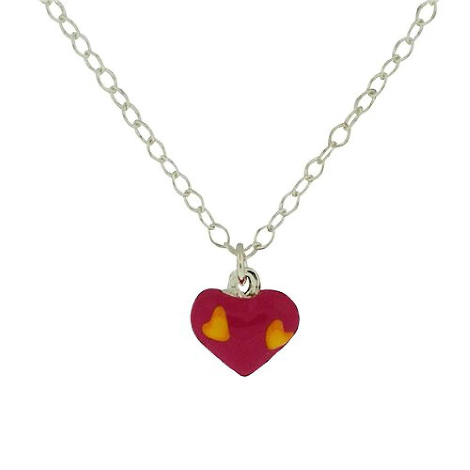 TOC Girls Sterling Silver Pink Puffed Heart Pendant Necklace 15