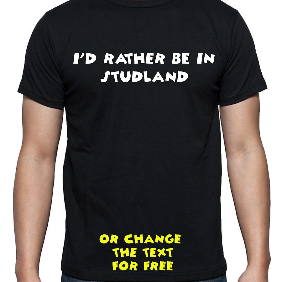 I'd Rather Be In Studland Black Hand Printed T shirt