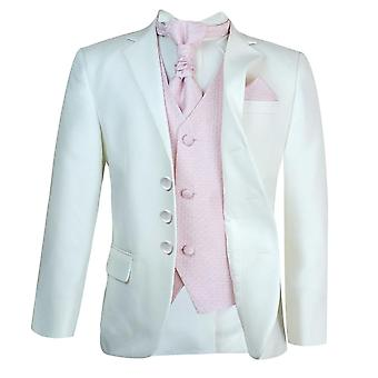 Boys New 5 Pc Ivory & Pink Wedding Cravat Suit