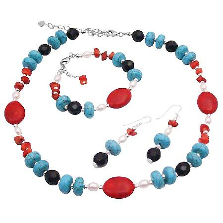 Multi Colored Semi Precious Stone Beads w/ Pearl & Bali Silver Beautiful Necklace Earrings & Bracelet Set
