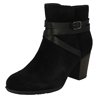 Ladies Clarks Buckle Detailed Ankle Boots Enfield Coco