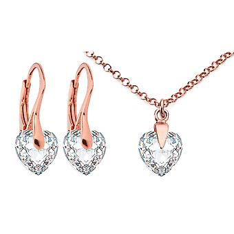 Ah Jewellery Clear Heart Crystals From Swarovski in 18k Rose Gold