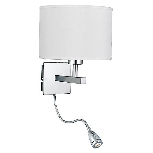 Searchlight 3550CC Bedside Reading Wall Light With White Shade And Led Flexi Arm