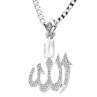Iced out bling MINI chain - ALLAH silver