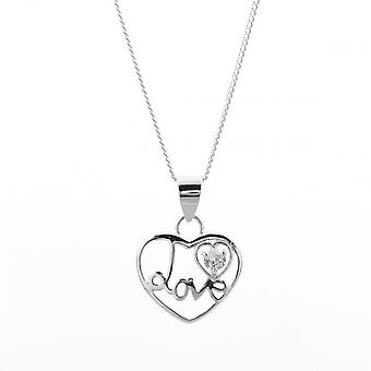 Eternity Sterling Silver Cubic Zirconia Set 'Love' Heart Pendant And Chain