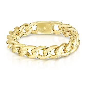 Anel trançado do cabo das mulheres do ouro 14K amarelo, tamanho 7