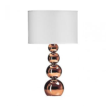 Premier Home Cameo Touch Lamp - EU Plug, Fabric, Copper