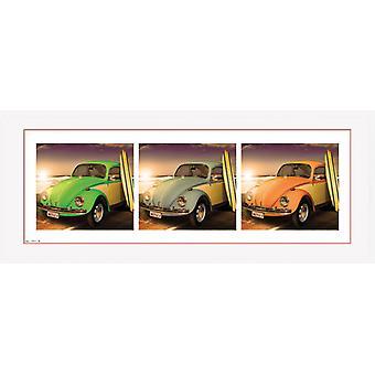 VW Beetle biller indrammet Collector Print 75x30cm