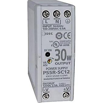Idec PS5R-SC12 Slim Line DIN Rail Power Supply 12Vdc 2.5A 30W, 1-Phase