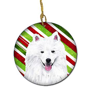 American Eskimo Candy Cane Holiday Christmas keramiske Ornament SC9339
