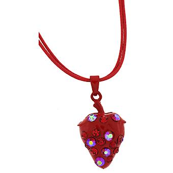 Siam Red and AB Crystal Strawberry Pendant Necklace