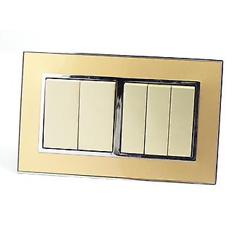I LumoS AS Luxury Gold Mirror Glass  Double Frame Rocker Light Switches