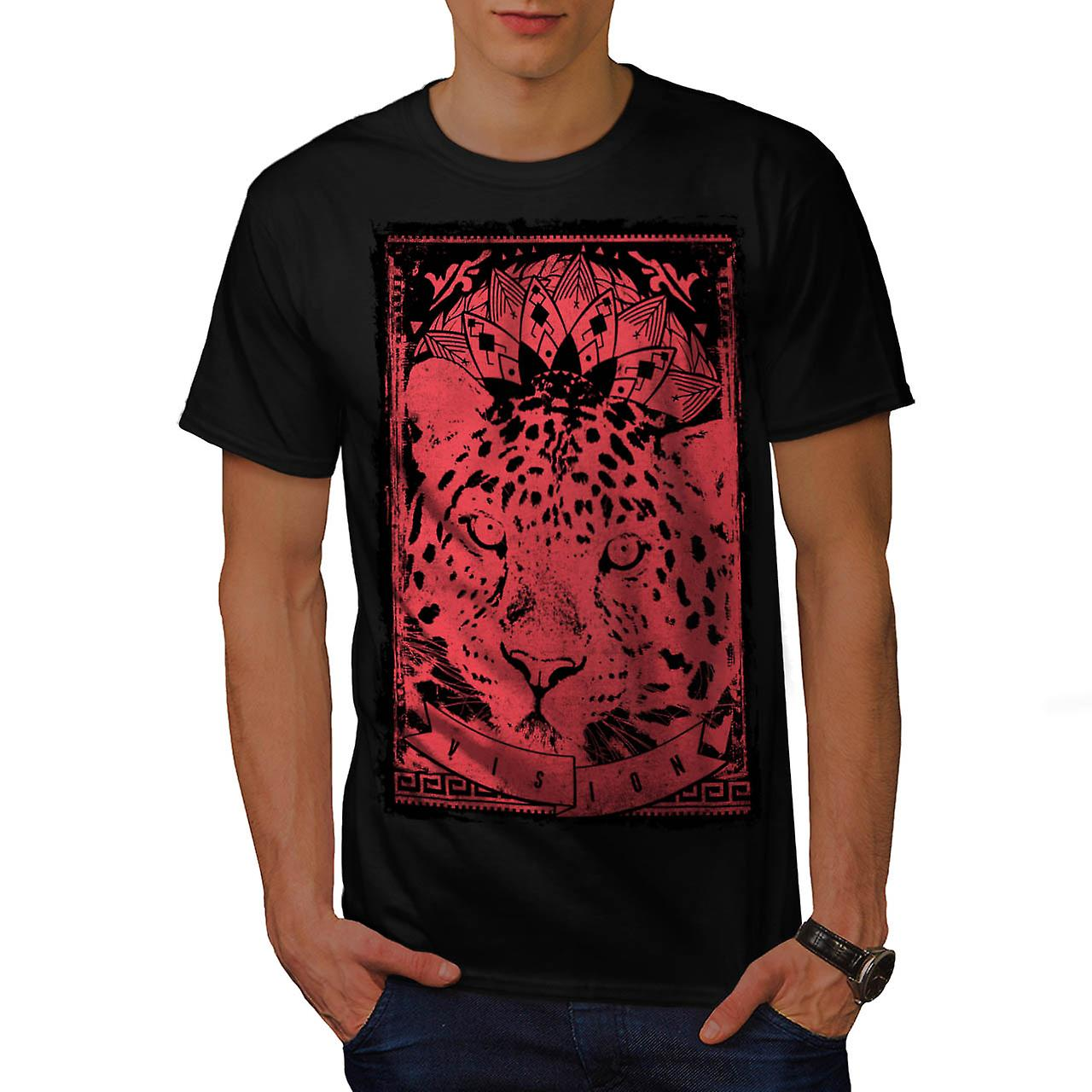 Leopard Cat Vision Angry Animal Men Black T-shirt | Wellcoda