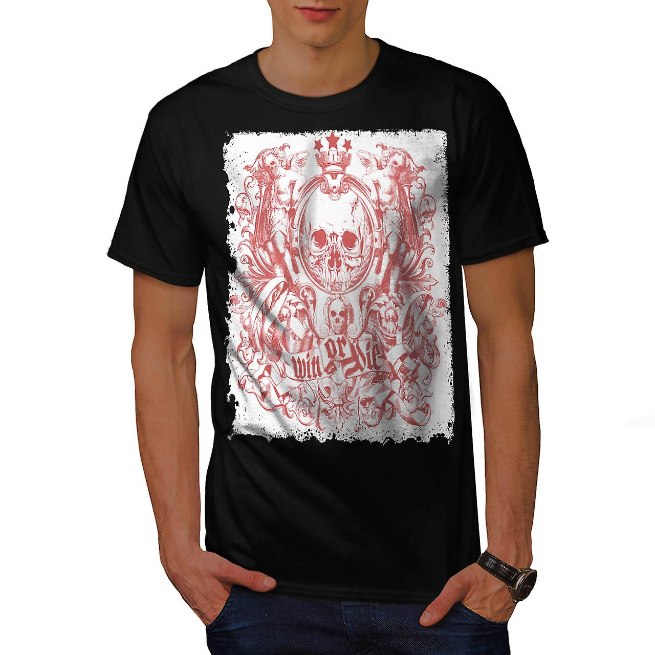 Win Or Die King Skull Men Black T-shirt | Wellcoda