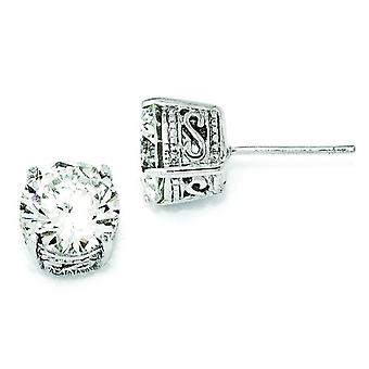 Sterling Zilver 8mm CZ Stud Earrings Stud Earrings