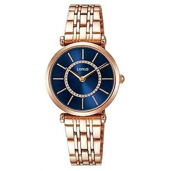 Lorus Womens Rose Gold Tone Stainless Steel Blue Dial RRW98EX9 Watch