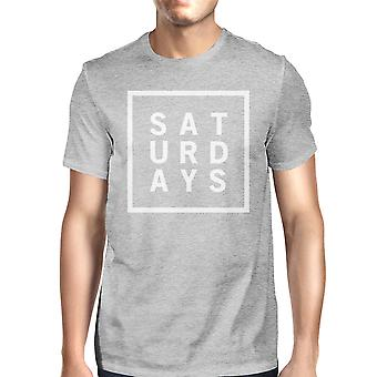 Saturdays Man's Heather Grey Top Cute Short Sleeve Tee Funny Shirt
